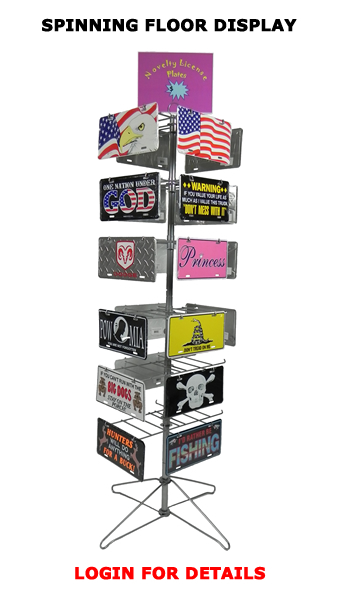 Novelty License Plate Spinning Floor Display